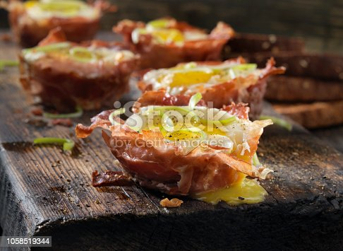 Prosciutto and Cheese Eggcups with Cracked Pepper and Green Onions