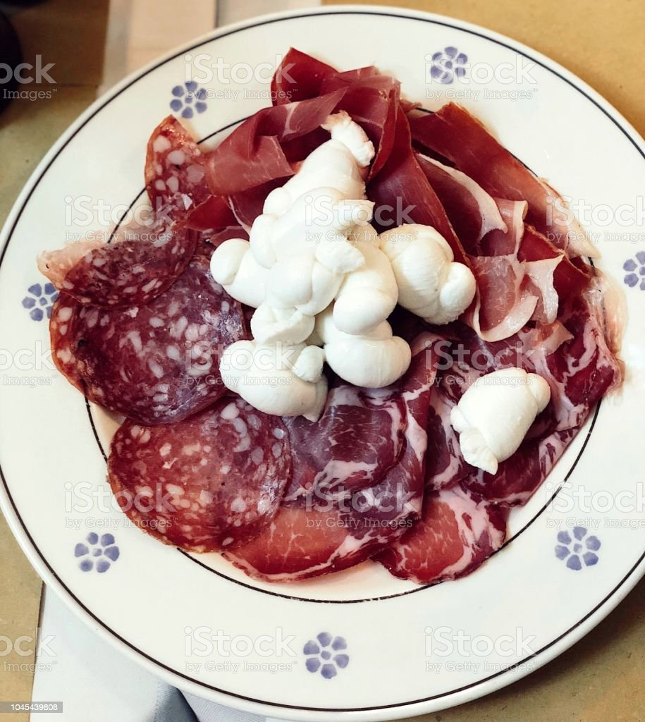 Prosciutto and cheese stock photo