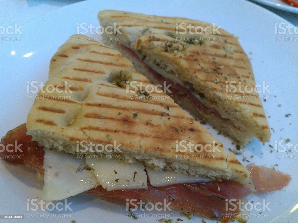 Prosciutto and cheese sandwich royalty-free stock photo