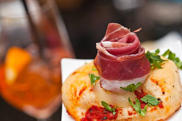 Prosciutto aperitivo in Italy stock photo