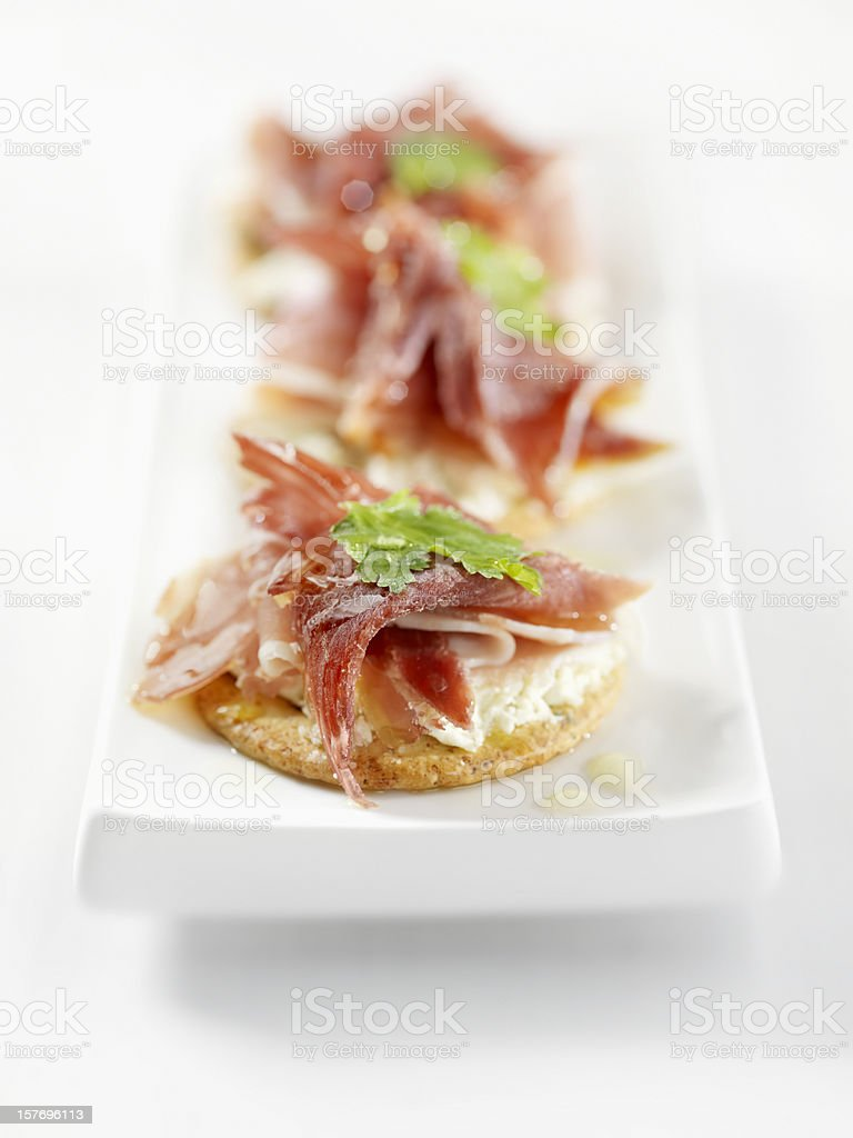 Prosciutto Canapes with Cream Cheese royalty-free stock photo