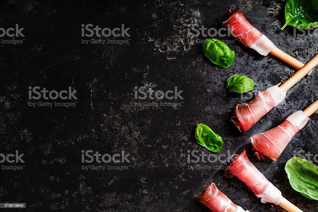 prosciutto ham and basil stock photo