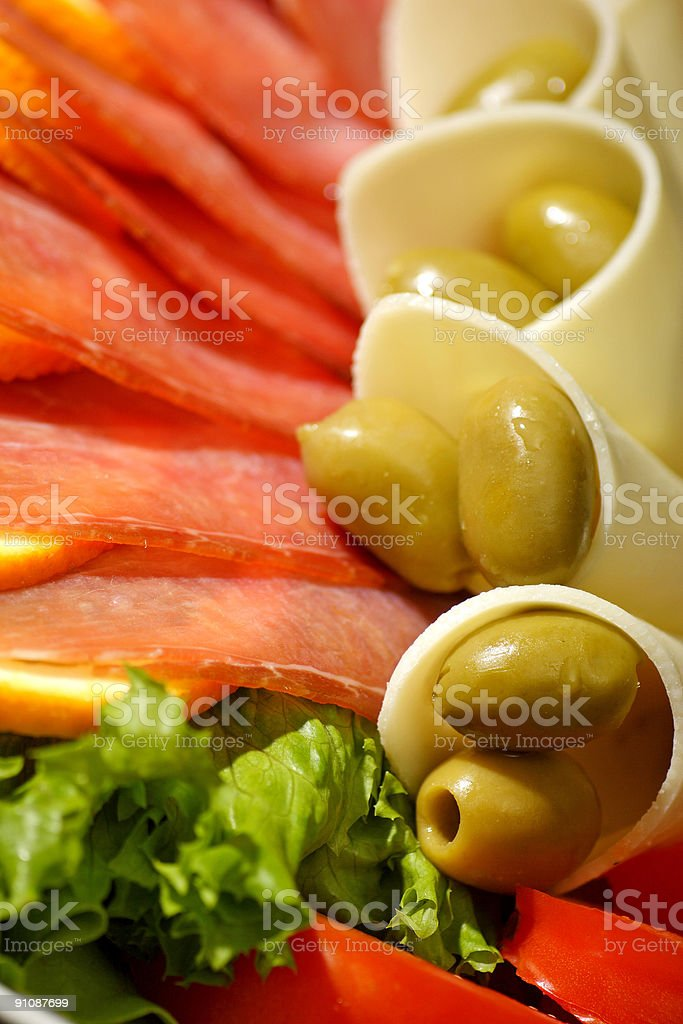 prosciutto ham and cheese salad royalty-free stock photo