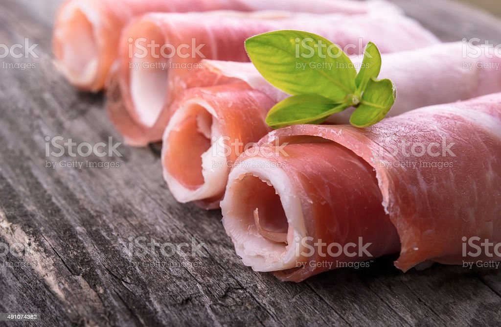 Prosciutto ham stock photo