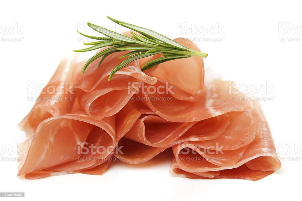 Prosciutto, italian cured ham stock photo
