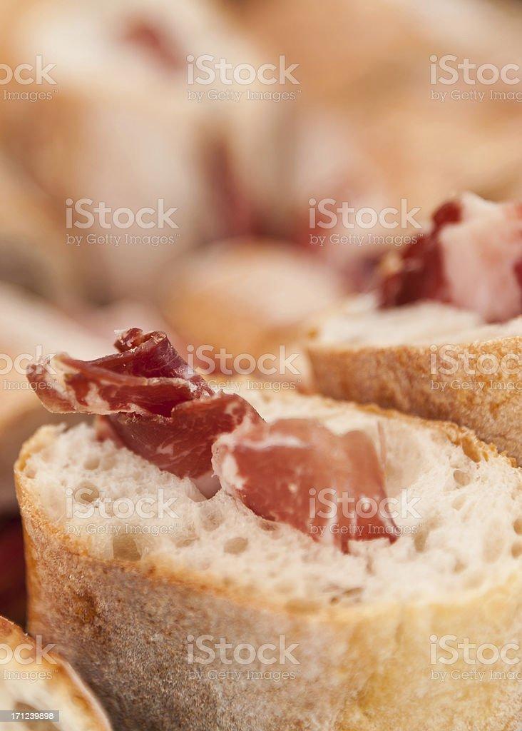 Prosciutto on Bread stock photo