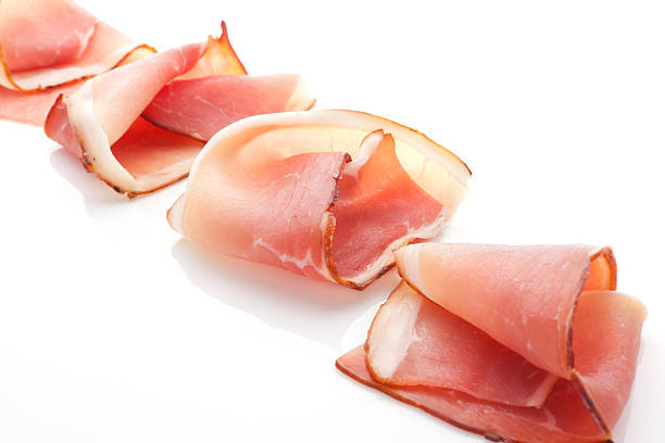 Prosciutto slices arranged. stock photo