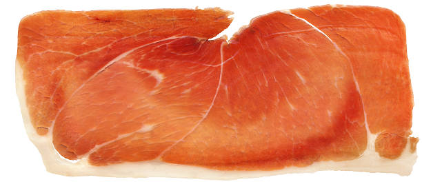 Prosciutto Smoked Pork Ham Rasher Isolated On White Background stock photo