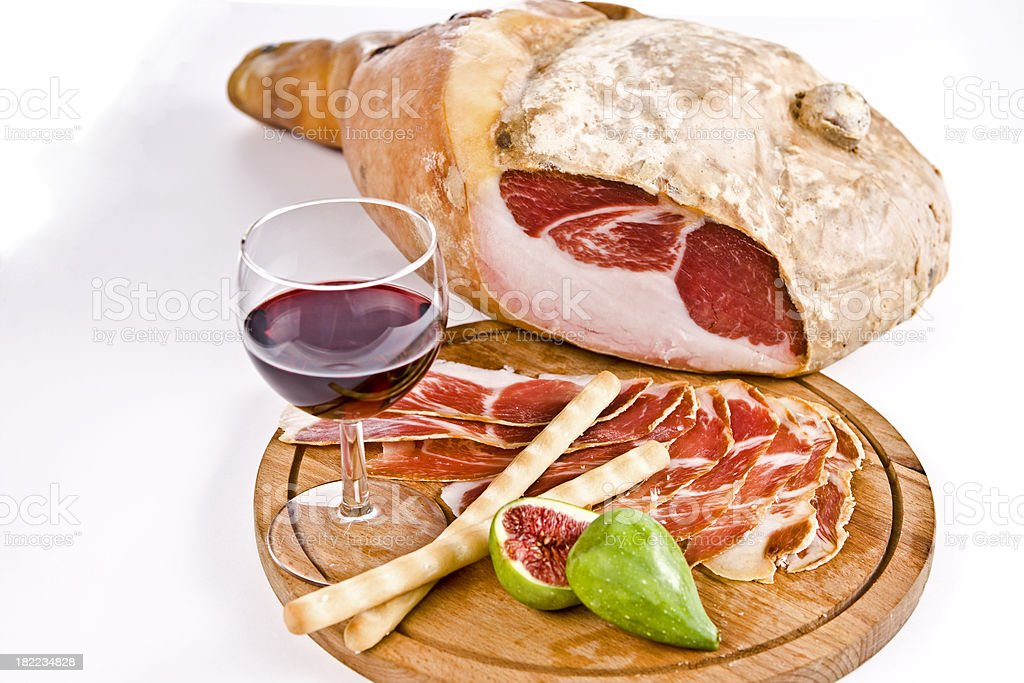 Prosciutto (Italian Ham)  with Fig and Red  Wine royalty-free stock photo