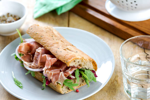 Prosciutto with Rocket and Radicchio on Wholegrain Sandwic stock photo