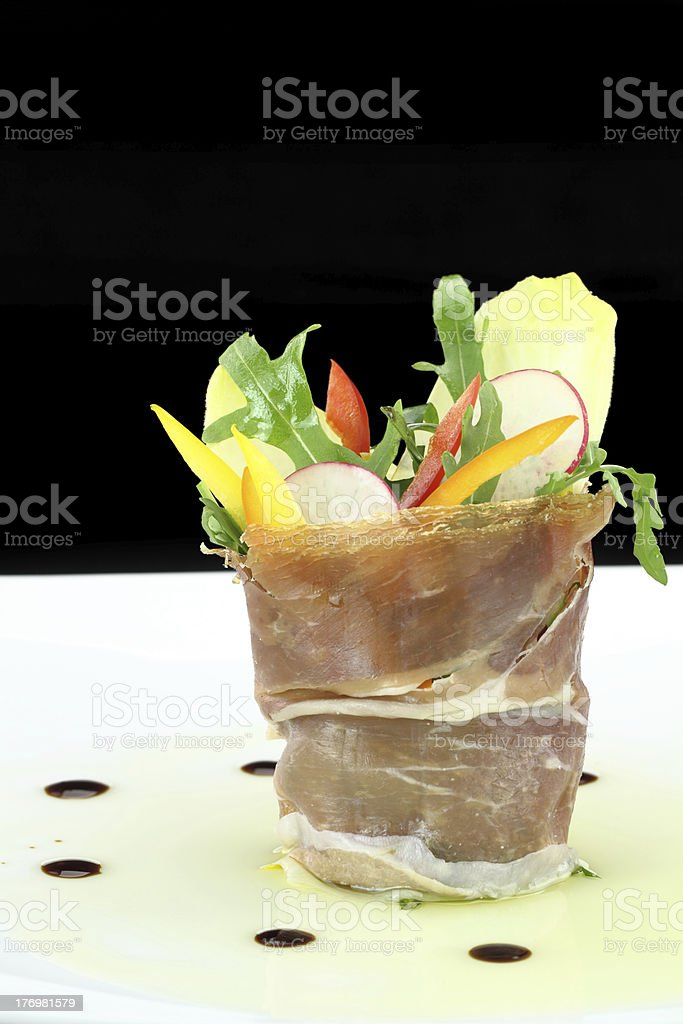 Prosciutto with vegetables royalty-free stock photo