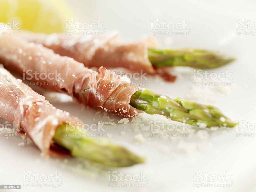 Prosciutto Wrapped Asparagus royalty-free stock photo