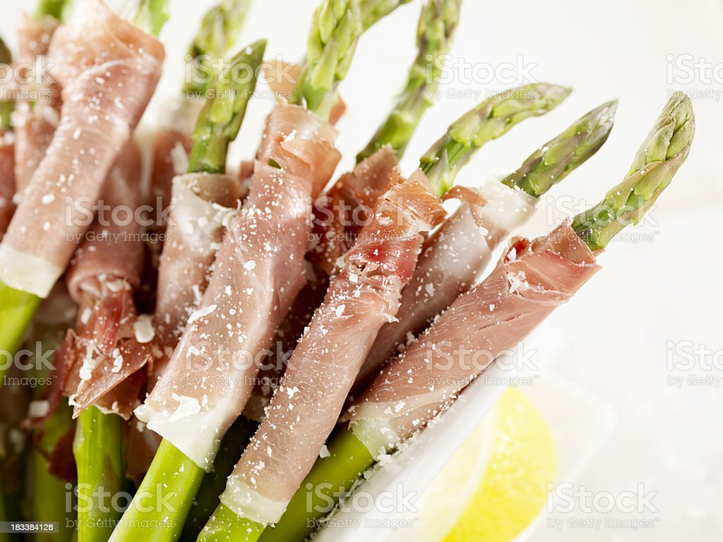 Prosciutto Wrapped Asparagus royalty-free stock photo