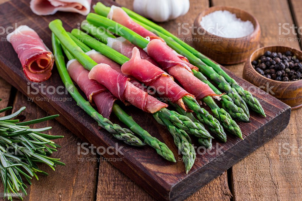 Prosciutto Wrapped Asparagus stock photo