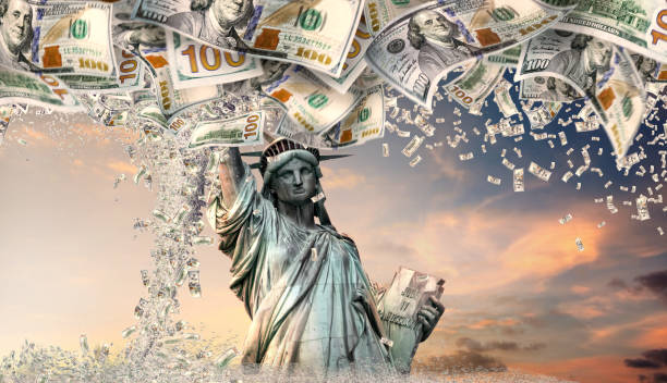 prosperity and success concept of making money in America stock photo