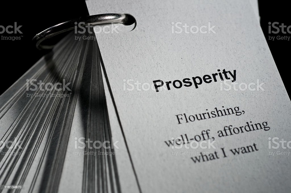 Prosperity Definition stock photo