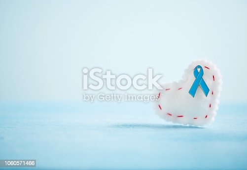 istock Prostate Cancer Awareness Background with Teal Ribbon on Heart 1060571466