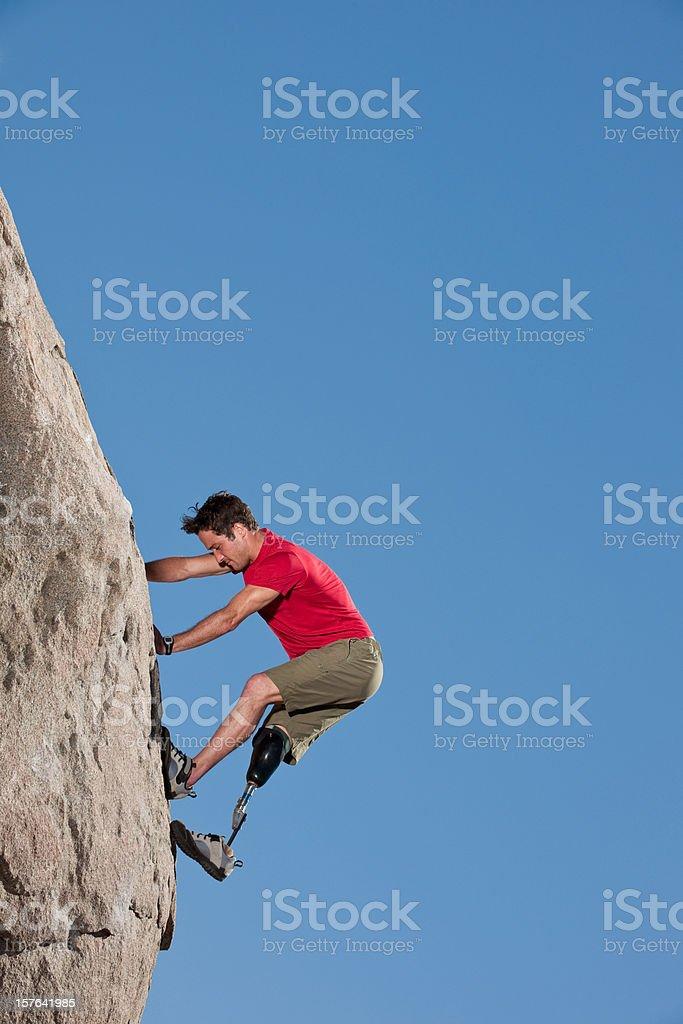 Prosthetic Climber stock photo