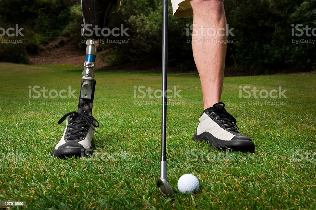 Prosthetic Golfer stock photo