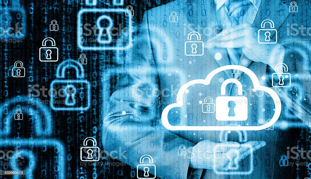 Protect cloud information data concept. stock photo