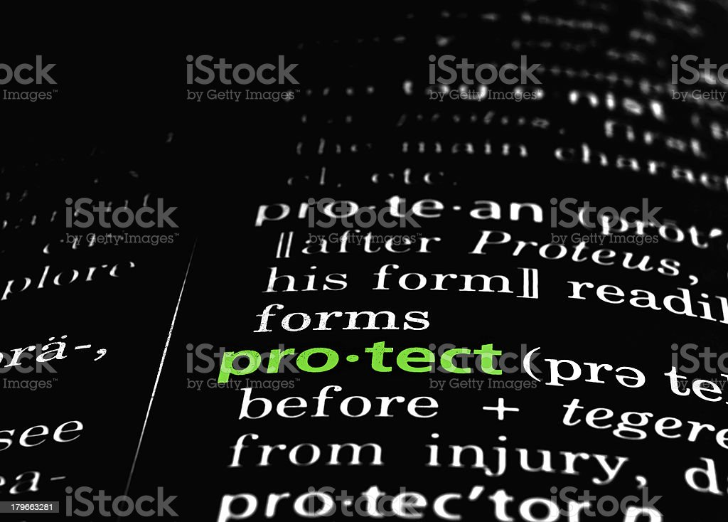 Protect Defined on Black royalty-free stock photo