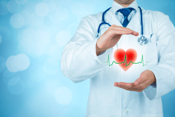 Protect health (healthcare) and heart problems prevention (cardiology) concept stock photo