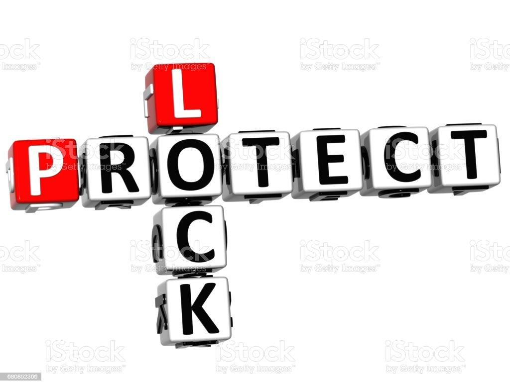 3D Protect Lock Crossword royalty-free stock photo