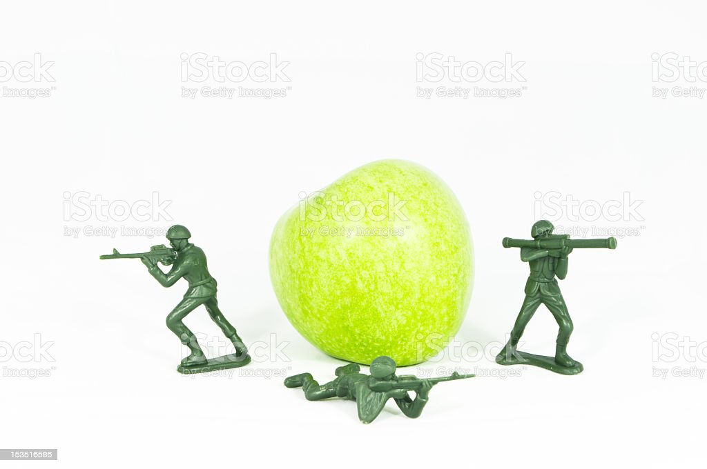 Protect the Apple, Health, Soldier Toy stock photo
