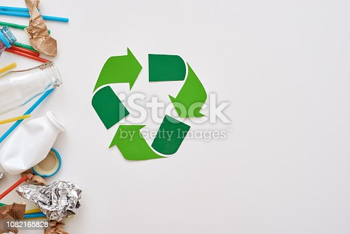 istock Protect the environment. Crumple foil, paper and plastic 1082165828