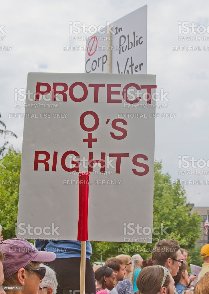 Protect Womens Rights Sign stock photo