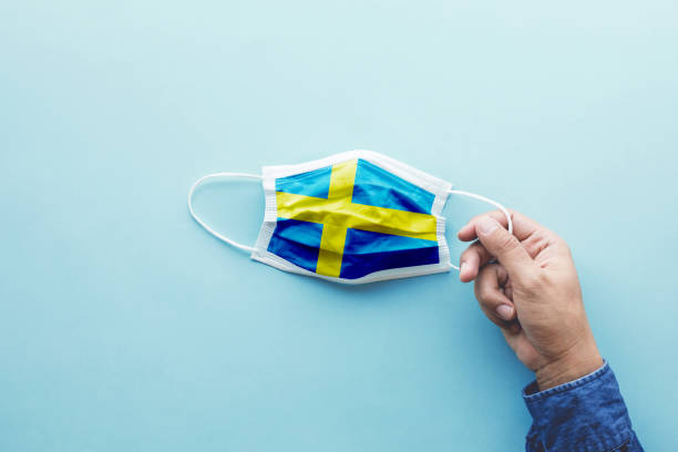 Protect yourself with mask concepts on covid-19 virus outbreak in sweden.body health care.medical equipment.demand and supply. stock photo