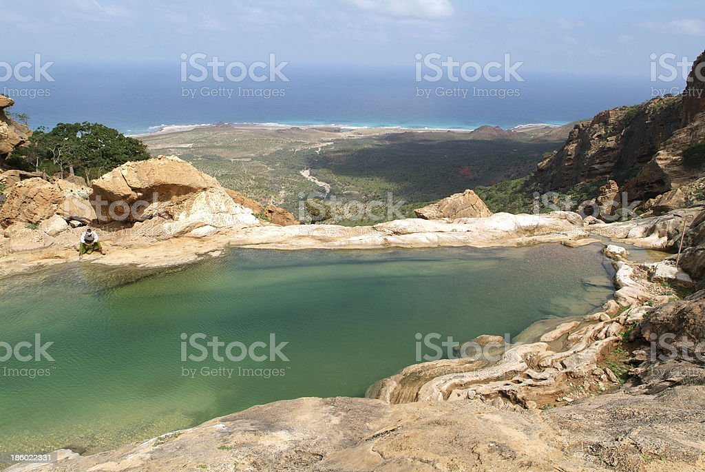 Protected area of Homhil on  Socotra island stock photo