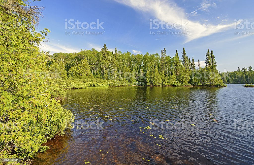 Protected Cove in the North Woods stock photo