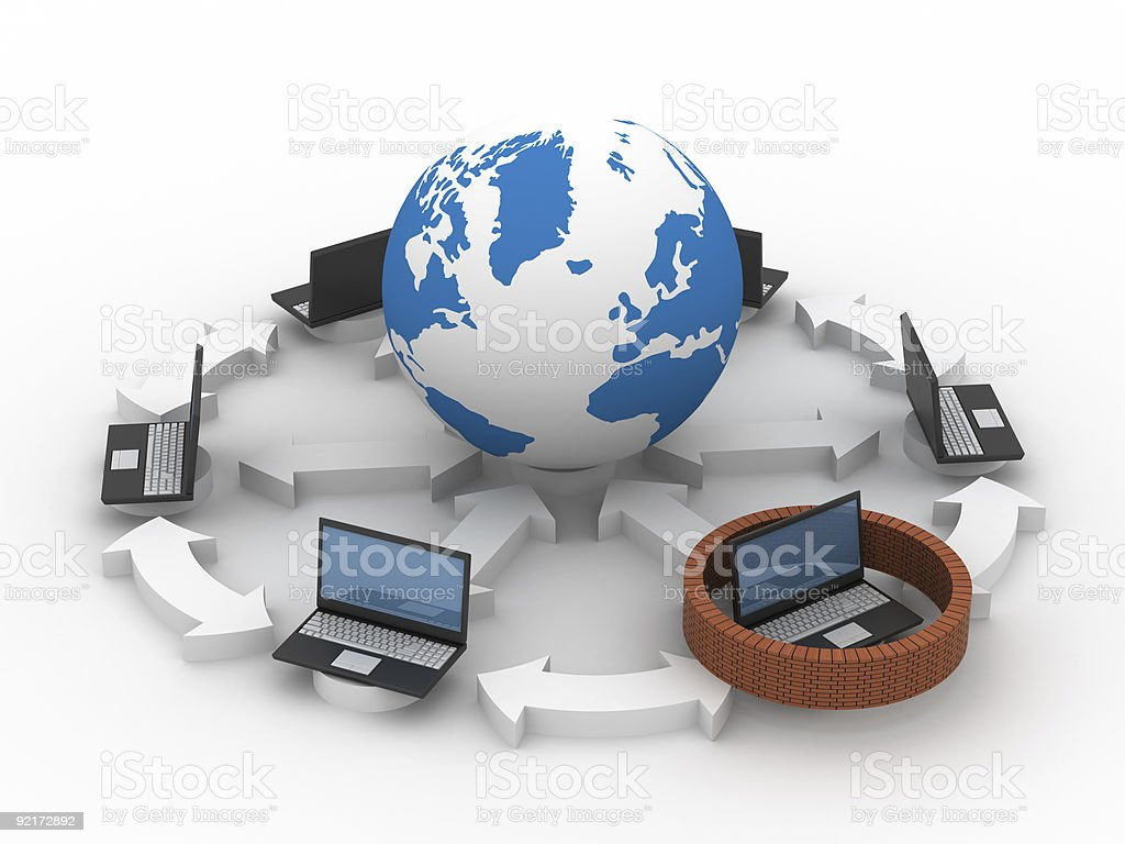 Protected global network the Internet. 3D image. royalty-free stock photo