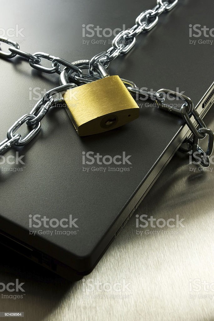 Protected portable laptop royalty-free stock photo