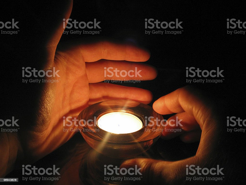protecting candle light royalty-free stock photo