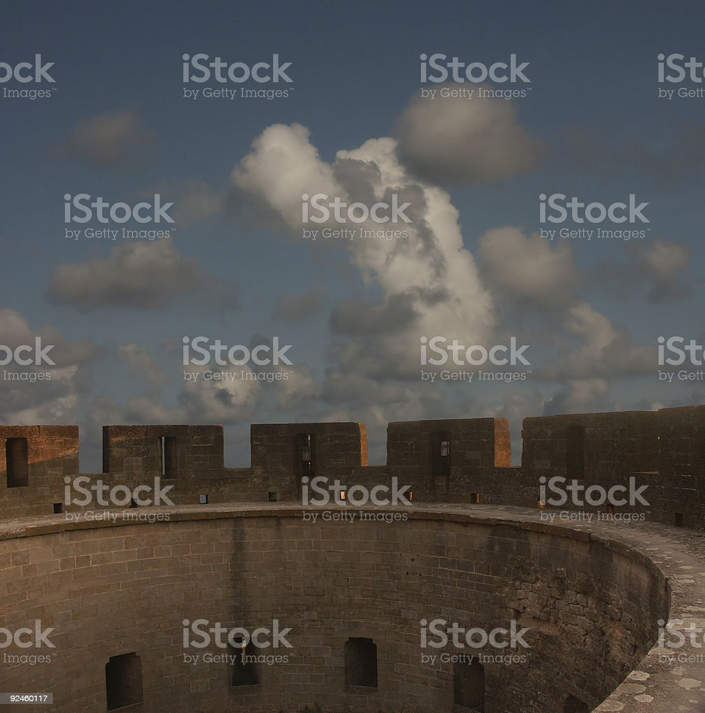Protecting castle tower stock photo