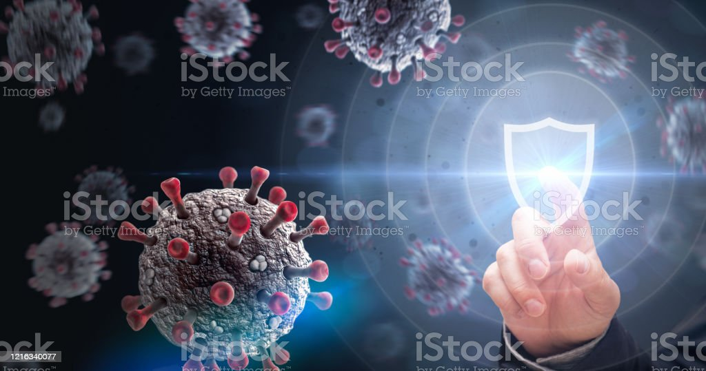 Protecting from Virus Attack Viruses and Shield. Defending from Virus Infection Concept. Abstract Stock Photo