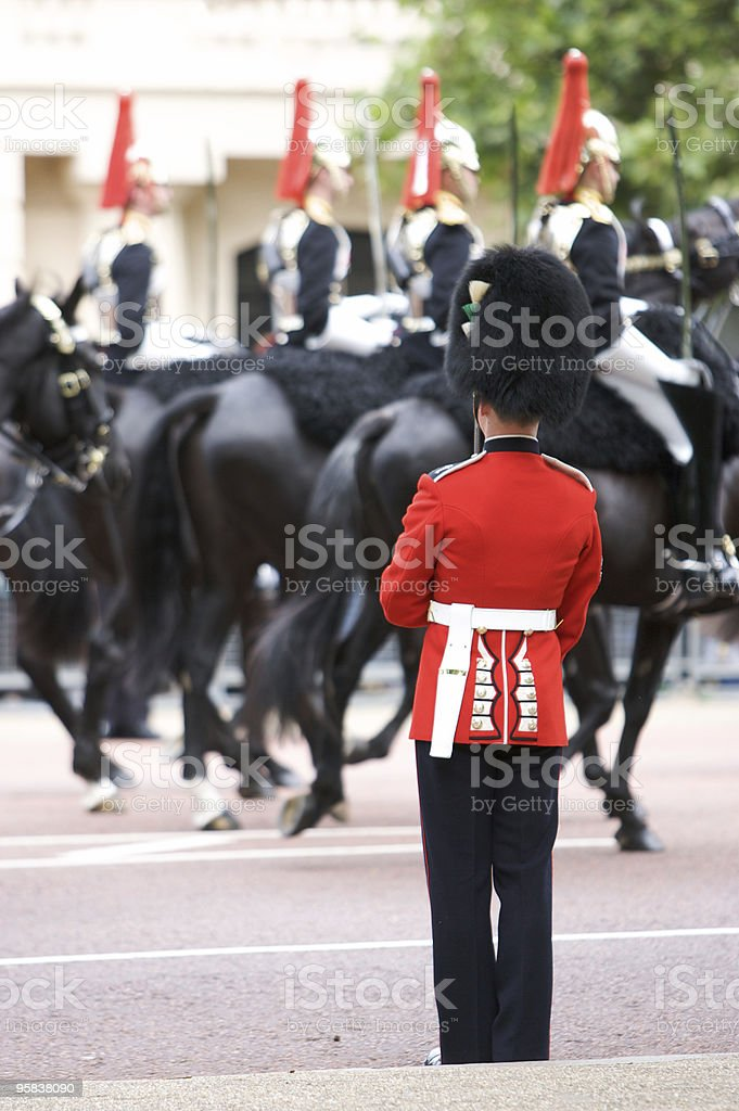 Protecting Her Majesty during Trooping the Colour, London royalty-free stock photo