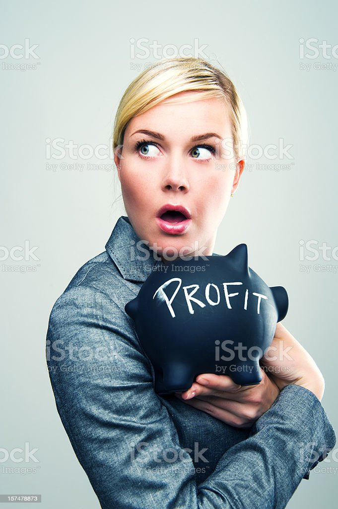 Protecting her profit royalty-free stock photo