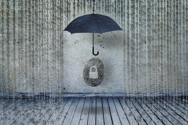 protecting idendity fingerprints or id fraud from binary codes as like rain, guarding identity symbol and personal information stock photo