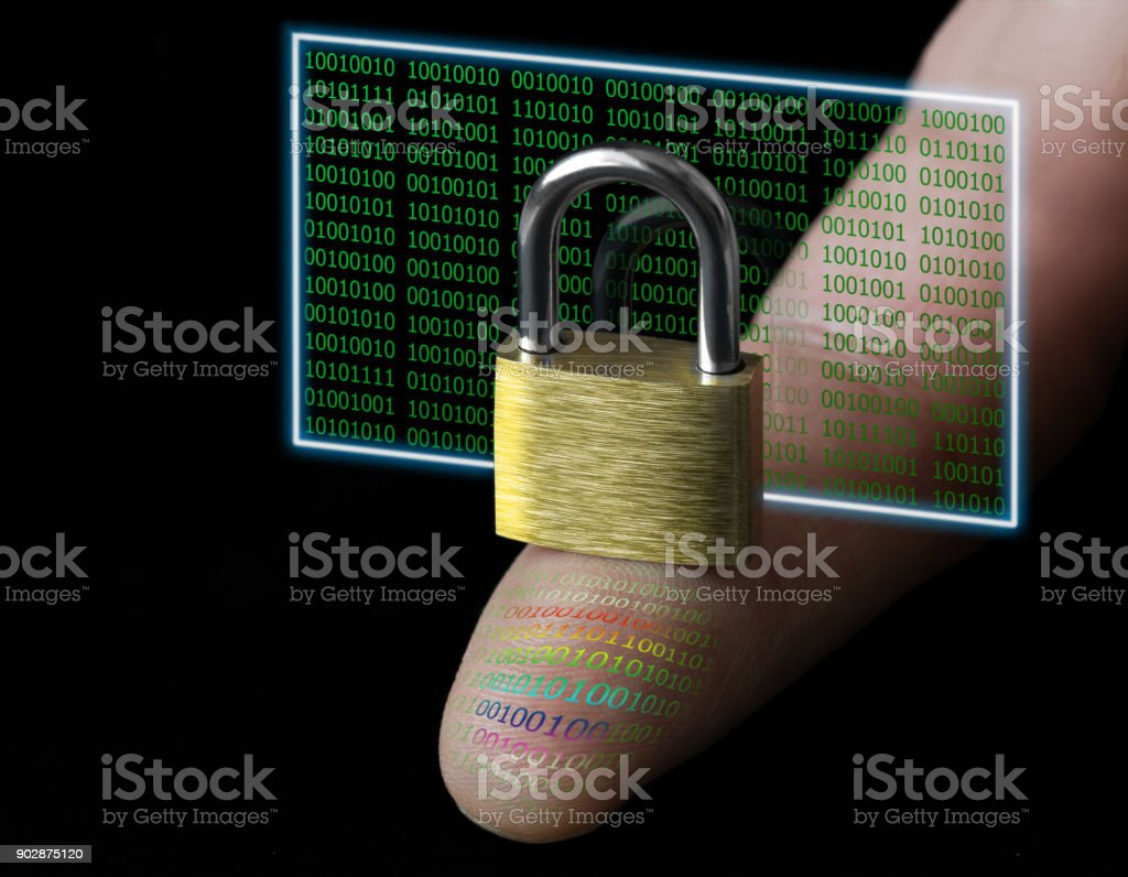 Protecting personal data with a digital fingerprint stock photo