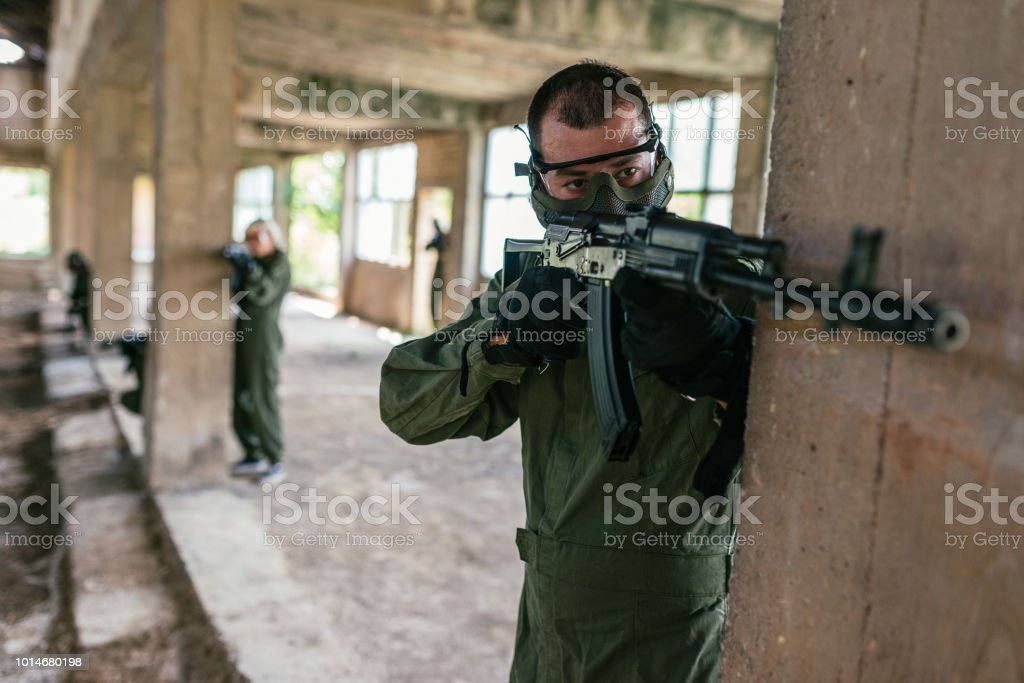 Protecting the gang from the enemies stock photo