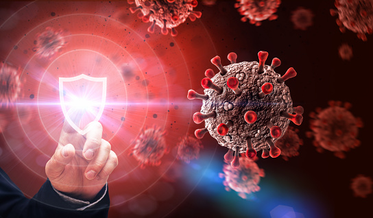 Viruses and Shield. Defending against Virus Attack Concept.