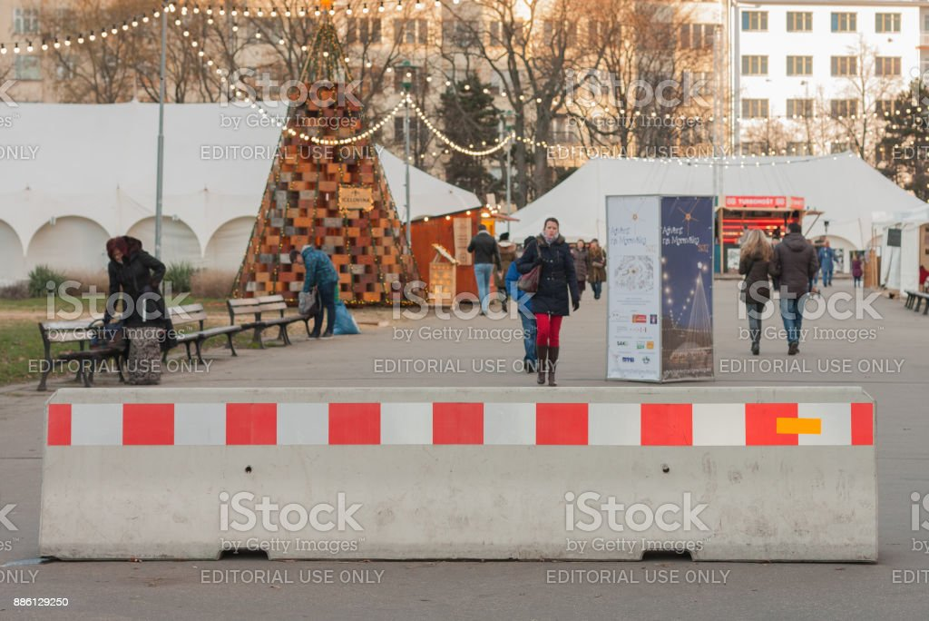 Protection against terrorism at Christmas market stock photo