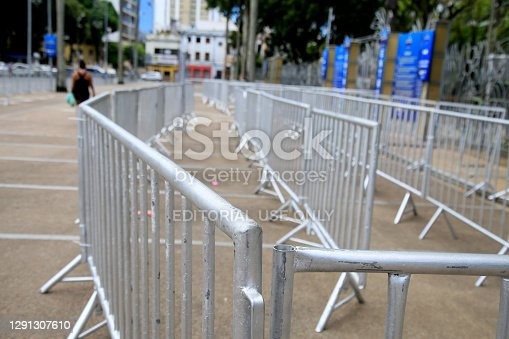 salvador, bahia, brazil - december 14, 2020: protection and isolation grid is seen in the Campo Grande neighborhood in the city of Salvador.