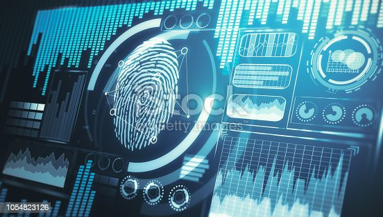 Digital business interface with finger print. Protection and internet concept. 3D Rendering