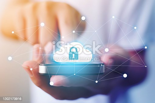 istock Protection cloud computing and technology network connection concept. Businessman hand holding mobile smart phone cloud server tranfer data device 1202173916