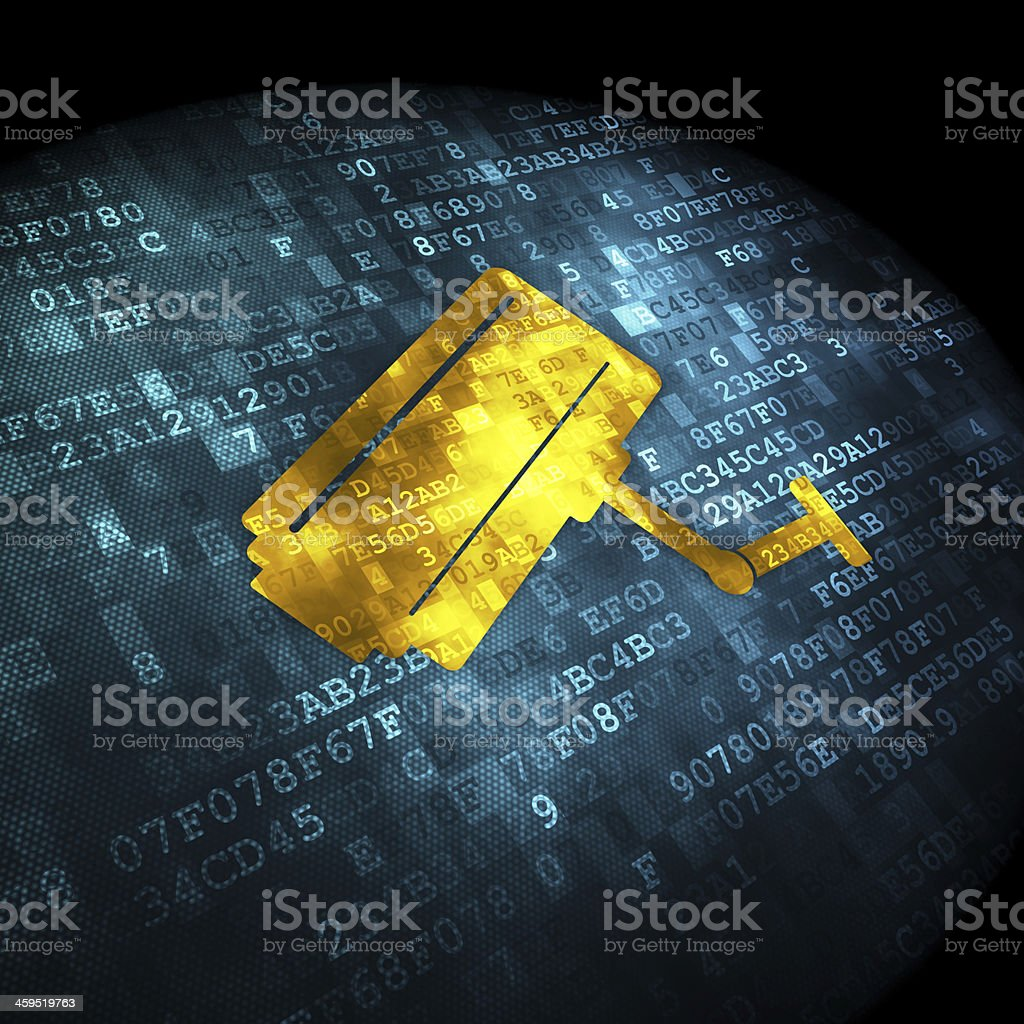 Protection concept: Cctv Camera on digital background stock photo