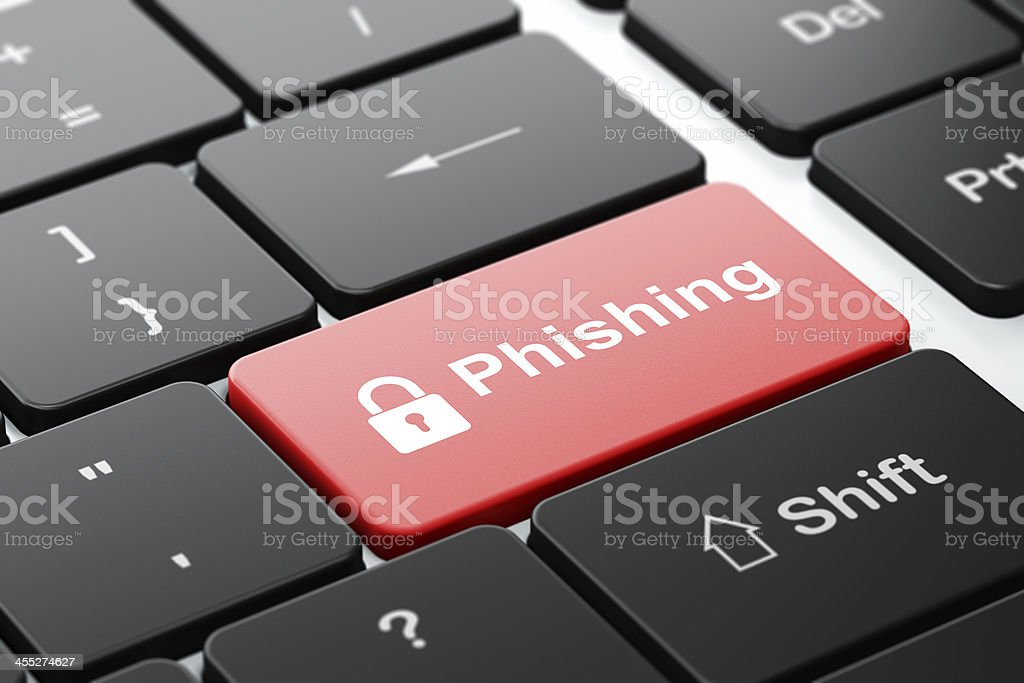 Protection concept: Closed Padlock and Phishing on keyboard stock photo
